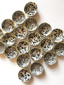 Bulk Wedding Favors - Black and White Marbled Ring Dish
