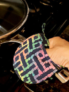 Mini Oven Mitts in Rainbow Print Fabric, Set of 2