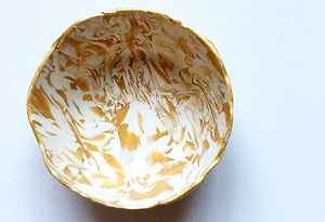 Saffron and White Marbled Jewelry Dish