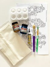 Load image into Gallery viewer, Henna Pattern Silk Painting Kit-Teal and Tan