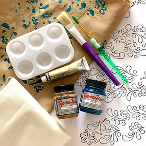 Henna Pattern Silk Painting Kit-Teal and Tan