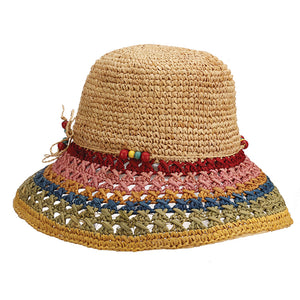Crocheted Raffia Cloche Sun Hat