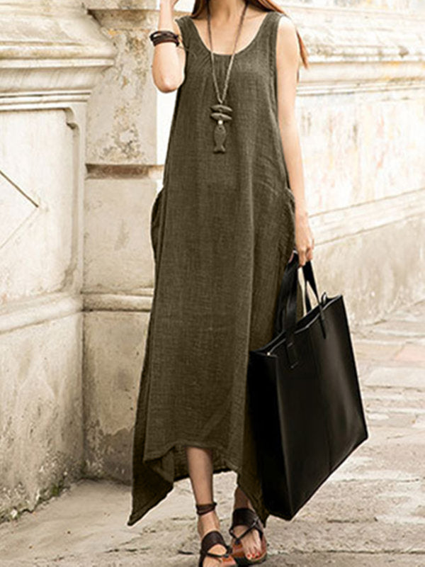 taglia grande Donna Quotidiano senza maniche Casuale Tasche Solido Gonna
