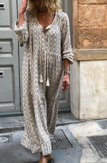 Donna Dritto Bohemian Floreale Maxi Gonna Maniche Lunghe Scollo a V Quotidiano Gonna