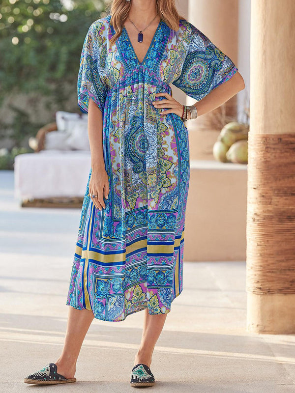 Boho Mezza Manica Casuale Scollo a V Misto Cotone Gonna
