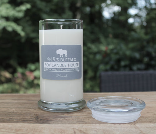 Natural soy candle, 20oz status jar with glass lid, handmade by White Buffalo Soy Candle House in Buffalo NY