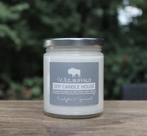 Natural soy candle, 9oz classic jar with silver lid, handmade by White Buffalo Soy Candle House in Buffalo NY