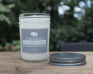 Natural soy candle, 8oz mason jar with antique pewter lid, hand-poured by White Buffalo Soy Candle House in Buffalo NY