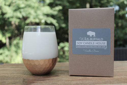 White Buffalo Soy Candle House Stemless Wine Glass Soy Candles - Gold Honeycomb Base