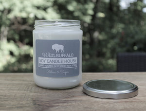 Natural soy candle, 16oz classic jar with silver lid, handmade by White Buffalo Soy Candle House in Buffalo NY