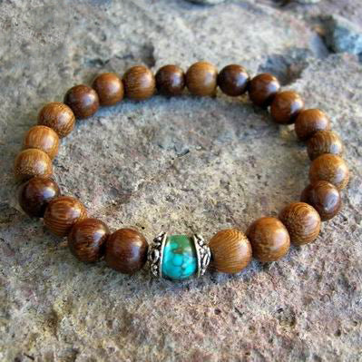 Sandalwood Mala Bead Bracelet with Turquoise Bead