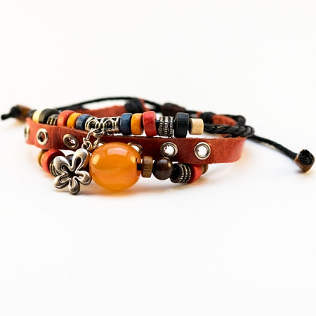 Orange Bead Charm Leather Bracelet