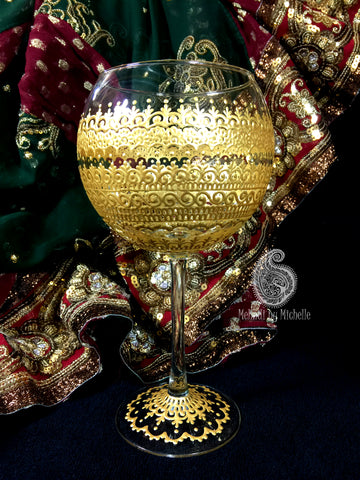 Traditional Gold Bridal Mehndi Inspired 19oz Mehndi/Henna Wine Glass!