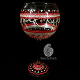 Red & White Valentine's Day Inspired 19oz Mehndi/Henna Wine Glass!