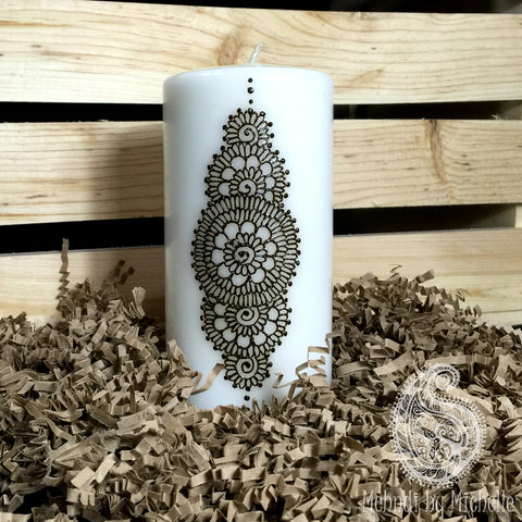 Mehndi Inspired Henna Mandala Art Design Candle