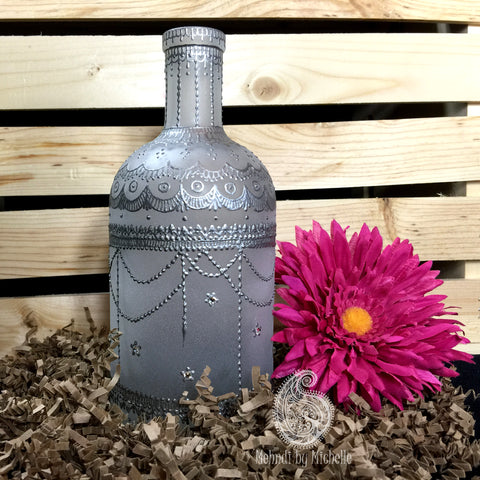 Silver Moraccan Inspired Mehndi/Henna Frosted Bottle for Incense or Decoration!
