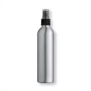 Aluminum Bottle and Black Sprayer with Overcap, Clear - 8oz