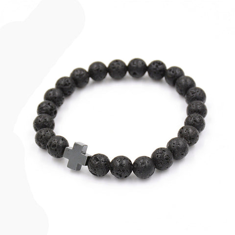 Cross and Black Lava Bead Bracelet