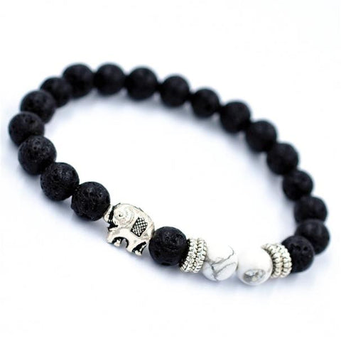 Elephant Lava Beaded Bracelet with Howlite