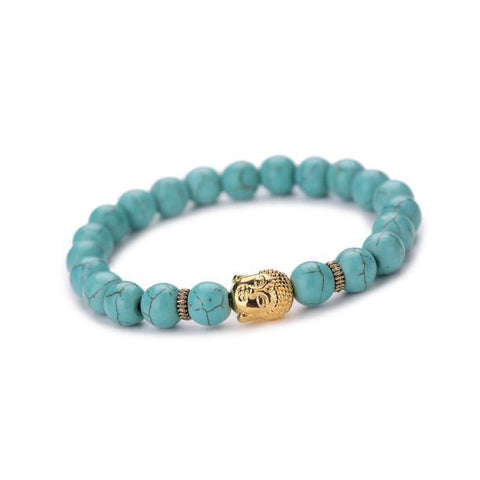 Gold or Silver Buddha with Turquoise Bead Bracelet