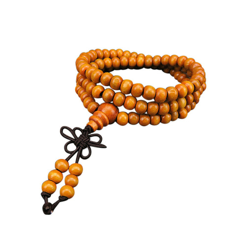 6mm Natural Sandalwood 108 Wooden Prayer Bead Bracelet
