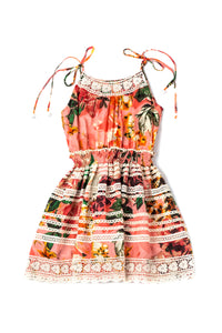ALICE DRESS - PEACH FLORAL