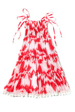 LARA DRESS - RED / WHITE ABSTRACT