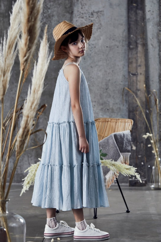 ICE BLUE TIERED MAXI DRESS