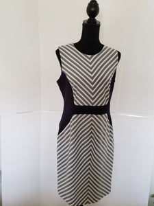 Paneled Geometric Stripe Dress