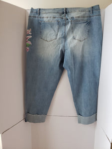 Plus Size  Distressed Roll Up Jean Pants