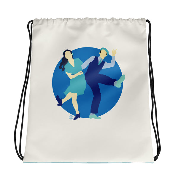 Swing dance bag for lindy hoppers. A drawstring bag with a swing dance graphic design.