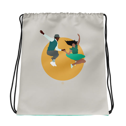 jump jive and wail, swing dancer's drawstring bag for lindy hoppers