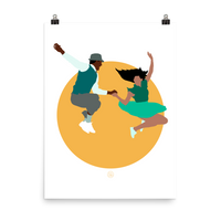 Lindy hop poster and print with a swing dance graphic design. Dance home decor for hepcats and jitterbugs!