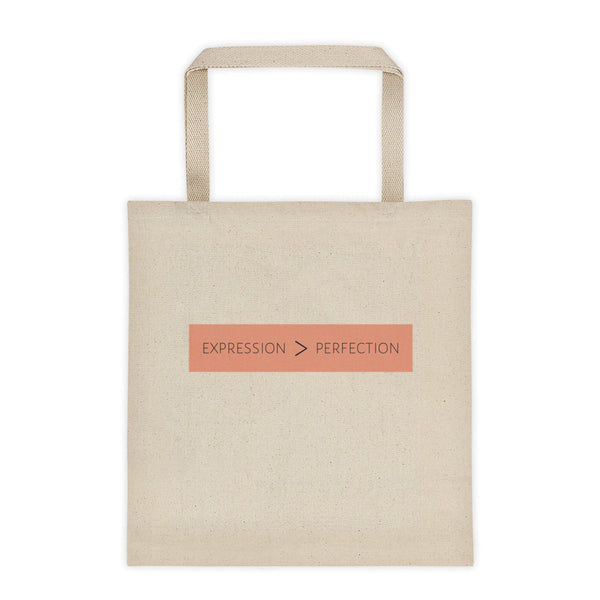 Expression is Greater than Perfection: Large Tote Bag
