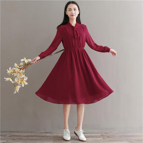 Knot Your Average Bow - Red Swing Dress