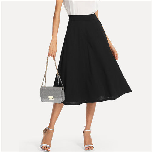 Long Black Swing Skirt