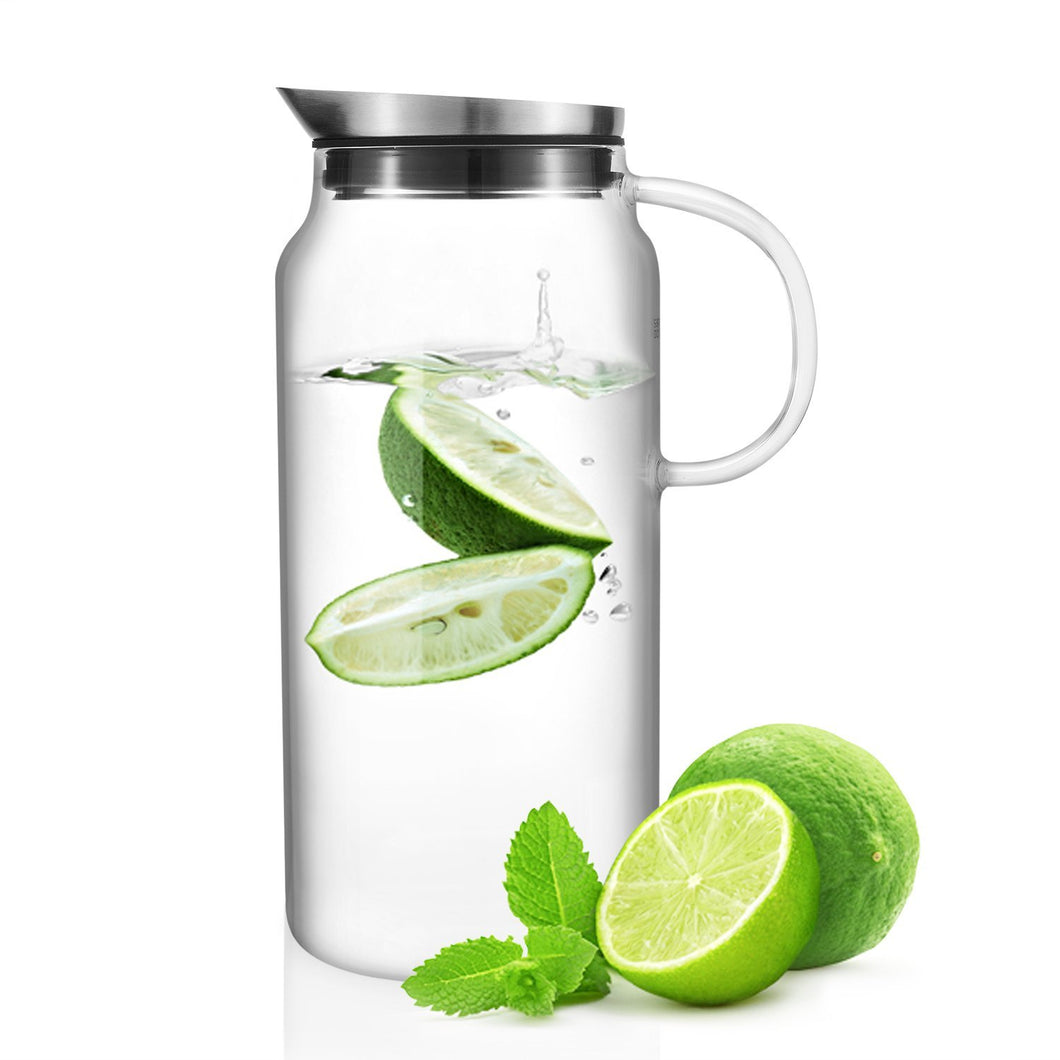 Glass Water Pitcher with Stainless Steel Lid - Polly Tadpole