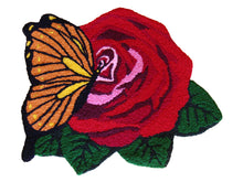 Load image into Gallery viewer, Butterfly & Red Rose Handmade Rug - Polly Tadpole