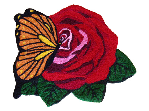 Butterfly & Red Rose Handmade Rug - Polly Tadpole