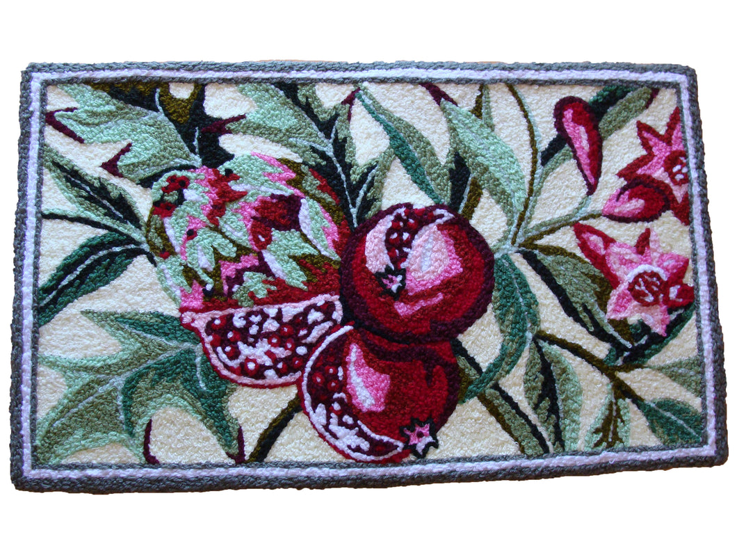 Pomegranate fruit With Leaves & Buds Handmade Rug - Polly Tadpole