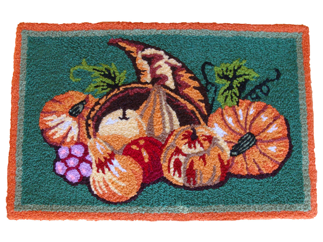 Thanksgiving Autumn Pumpkin Handmade Area Rug - Polly Tadpole