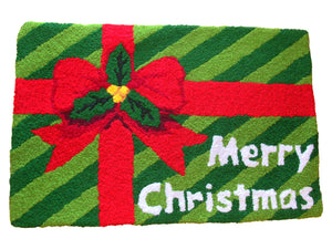 Merry Christmas Wrapped Gift Handmade Accent Rug - Polly Tadpole