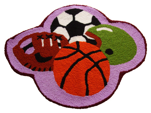Sports Ball Handmade Accent Rug - Polly Tadpole