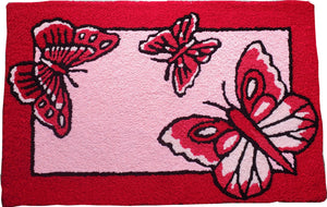 Flying Butterflies Handcrafted Accent Rug
