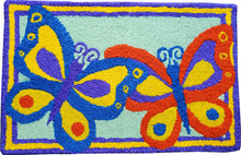 Load image into Gallery viewer, Colorful Butterfly Duo Handcrafted/Handmade Accent Rug