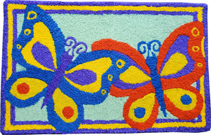 Colorful Butterfly Duo Handcrafted/Handmade Accent Rug