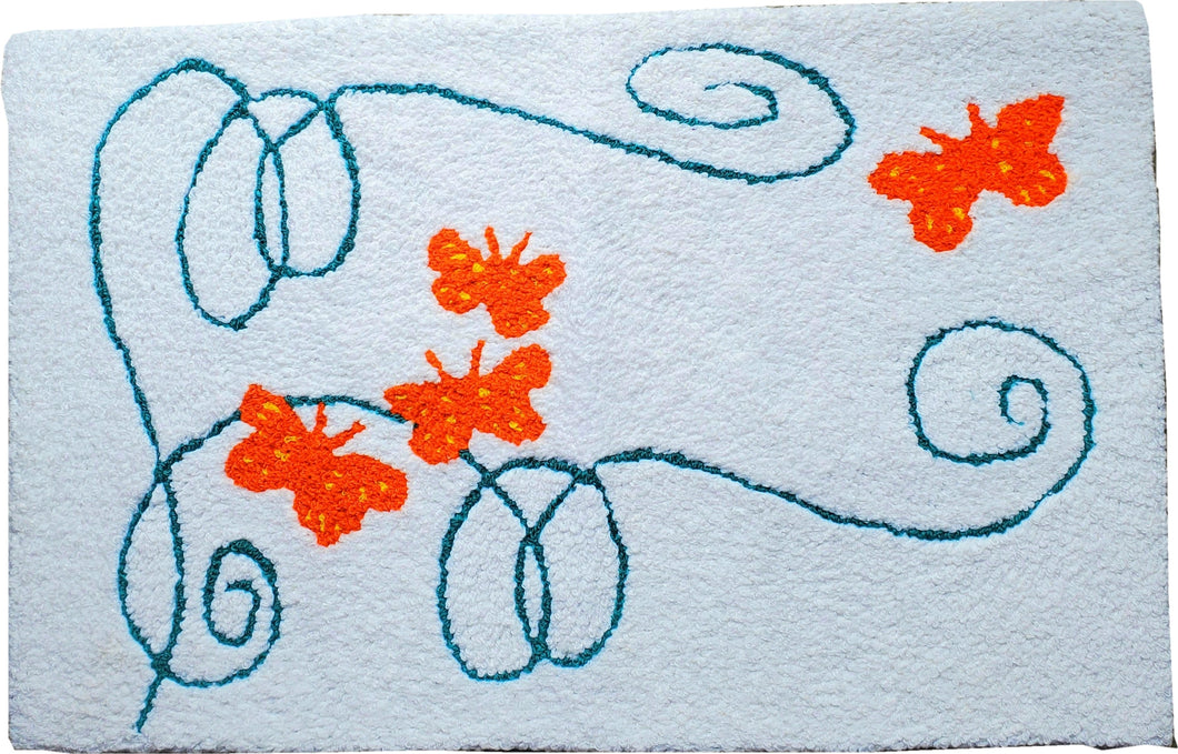 Butterfly Trail Swirls Handcrafted Accent Rug