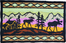 Load image into Gallery viewer, Nature Wild Elk Duo Wilderness Cabin & Moose Handcrafted Accent Rug