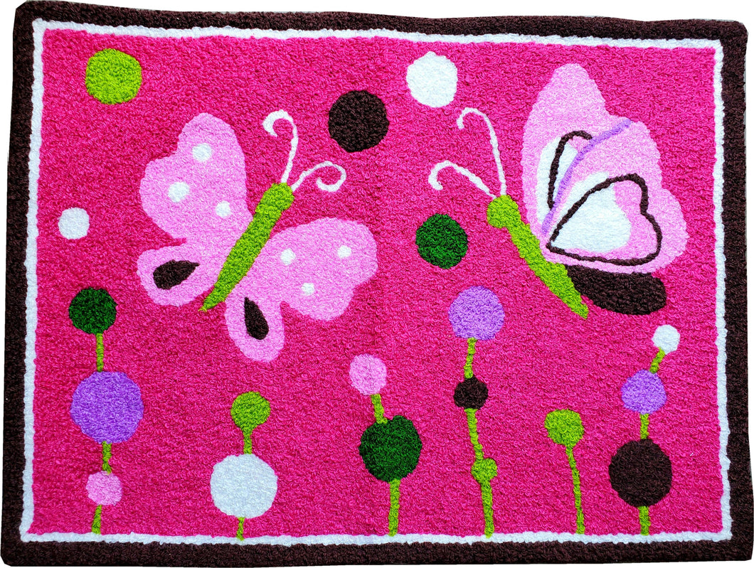 Vibrant Kids Flying Butterflies & Dots Handmade Accent Rugs