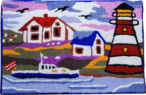 Lighthouse Lake/Ocean View with Boat Handcrafted Accent Rug